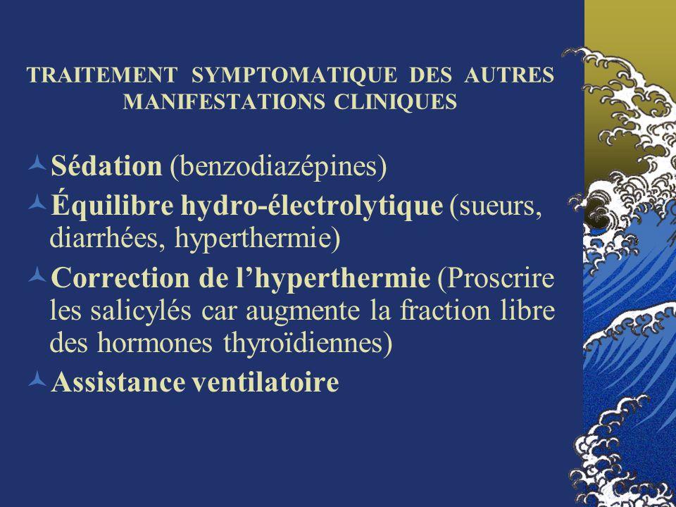 TRAITEMENT SYMPTOMATIQUE DES AUTRES MANIFESTATIONS CLINIQUES Sédation (benzodiazépines) Équilibre hydro-électrolytique (sueurs, diarrhées, hyperthermi
