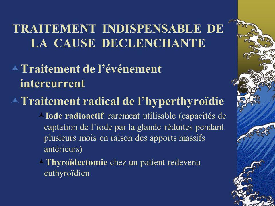 TRAITEMENT INDISPENSABLE DE LA CAUSE DECLENCHANTE Traitement de lévénement intercurrent Traitement radical de lhyperthyroïdie Iode radioactif: raremen