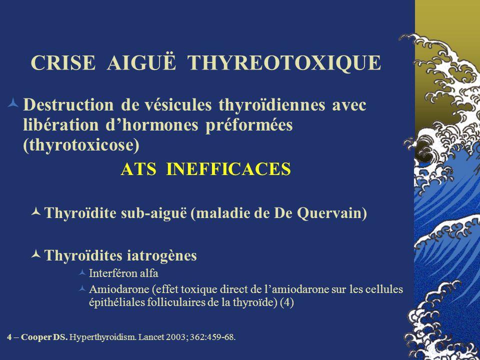 CRISE AIGUË THYREOTOXIQUE Administration exogène dhormones thyroïdiennes, iatrogène ou volontaire ATS INEFFICACES Iatrogènes: régime Traitement freinateur par T4 inadapté Thyrotoxicose factice (psychiatrique)