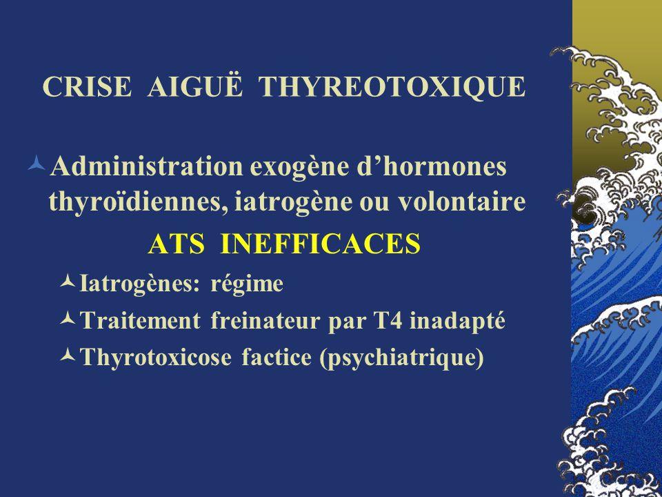 TRAITEMENT SYMPTOMATIQUE DES AUTRES MANIFESTATIONS CLINIQUES Sédation (benzodiazépines) Équilibre hydro-électrolytique (sueurs, diarrhées, hyperthermie) Correction de lhyperthermie (Proscrire les salicylés car augmente la fraction libre des hormones thyroïdiennes) Assistance ventilatoire