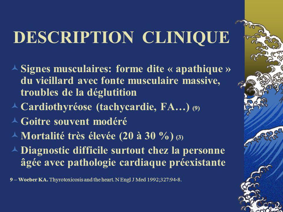 DESCRIPTION CLINIQUE Signes musculaires: forme dite « apathique » du vieillard avec fonte musculaire massive, troubles de la déglutition Cardiothyréos