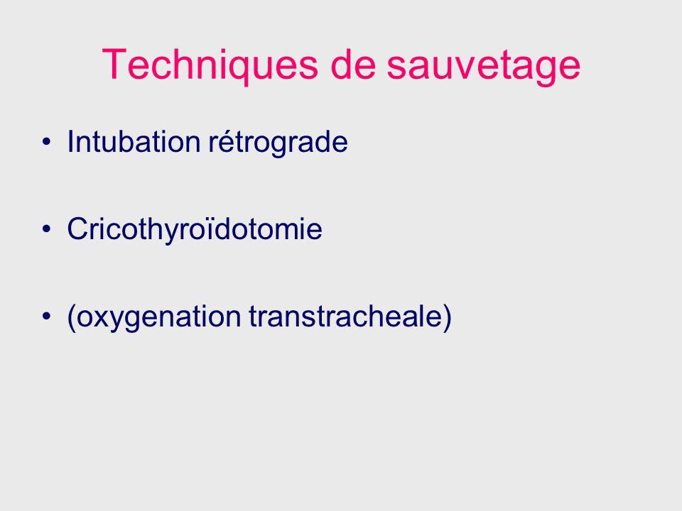 Techniques de sauvetage Intubation rétrograde Cricothyroïdotomie (oxygenation transtracheale)