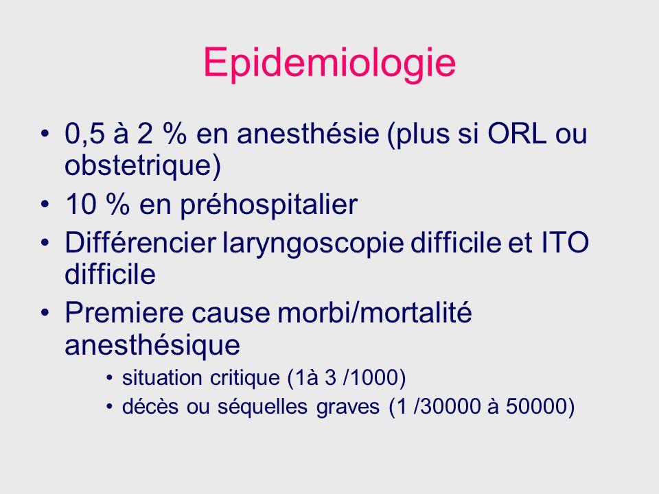 Epidemiologie 0,5 à 2 % en anesthésie (plus si ORL ou obstetrique) 10 % en préhospitalier Différencier laryngoscopie difficile et ITO difficile Premie