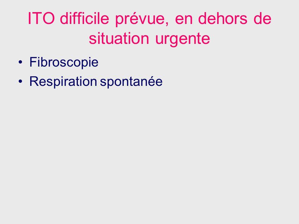 ITO difficile prévue, en dehors de situation urgente Fibroscopie Respiration spontanée