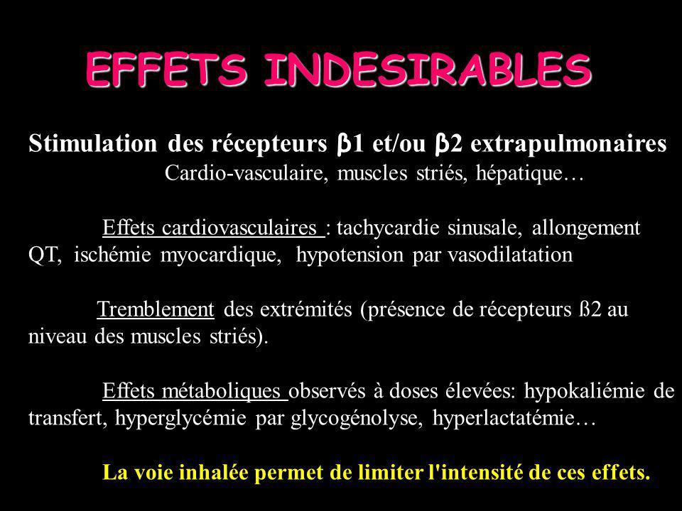 EFFETS INDESIRABLES Stimulation des récepteurs β 1 et/ou β 2 extrapulmonaires Cardio-vasculaire, muscles striés, hépatique… Effets cardiovasculaires :