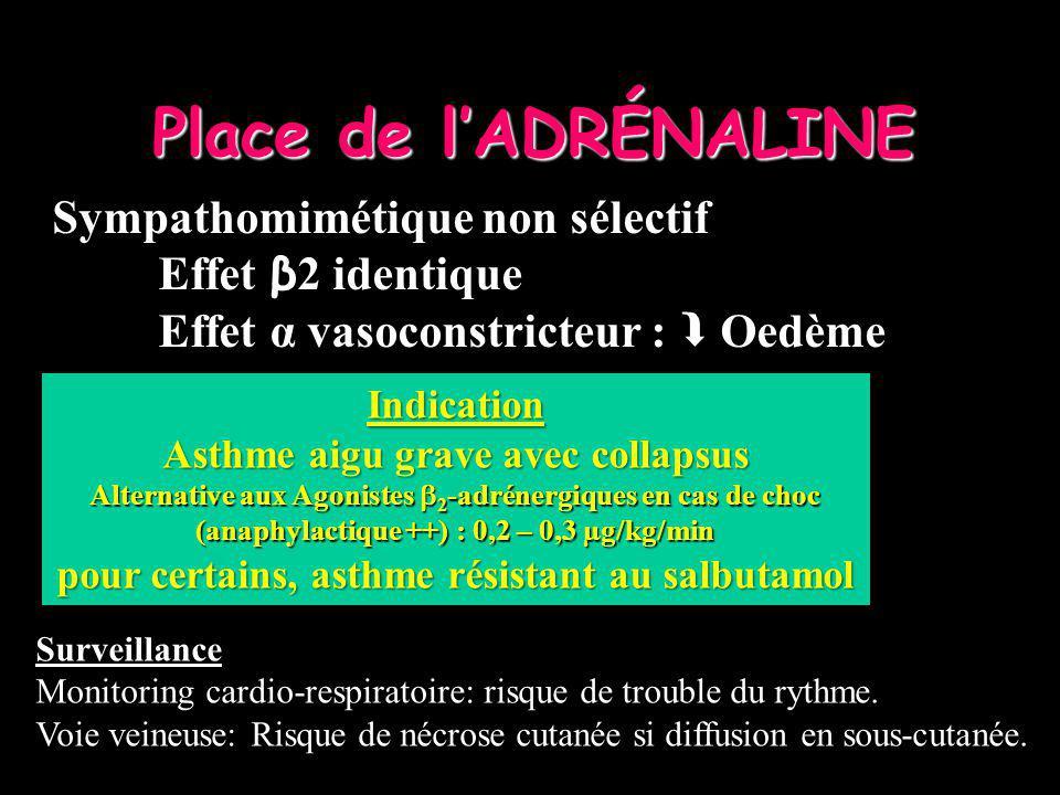 Sympathomimétique non sélectif Effet β 2 identique Effet α vasoconstricteur : Oedème Place de lADRÉNALINE Indication Asthme aigu grave avec collapsus