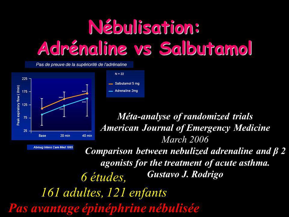 Nébulisation: Adrénaline vs Salbutamol 6 études, 161 adultes, 121 enfants Pas avantage épinéphrine nébulisée Méta-analyse of randomized trials America