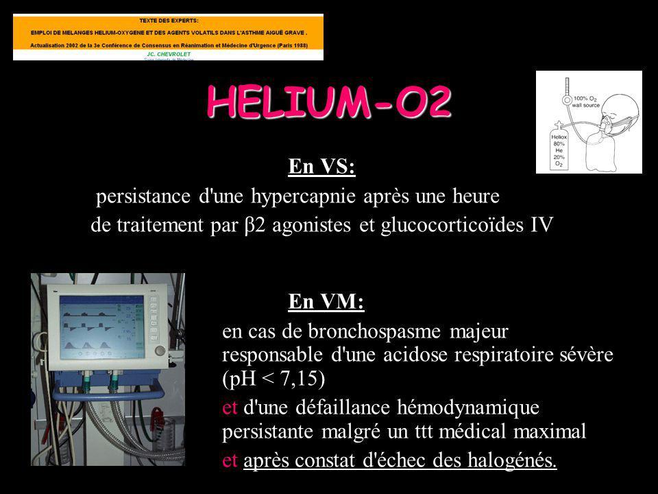 HELIUM-O2 En VS: persistance d'une hypercapnie après une heure de traitement par β2 agonistes et glucocorticoïdes IV En VM: en cas de bronchospasme ma