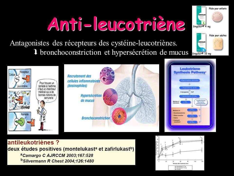 Antagonistes des récepteurs des cystéine-leucotriènes. bronchoconstriction et hypersécrétion de mucus Anti-leucotriène