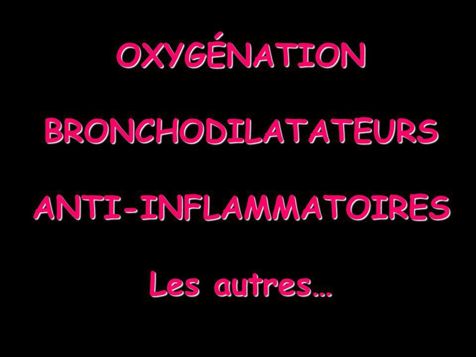 OXYGÉNOTHÉRAPIE TOUJOURS, PRÉCOCE TOUJOURS, PRÉCOCE Inhomogénéité du rapport VA/Q Hypoxémie aggravée par β2+ qui inhibe la VCH Pour SpO2 > 92% (> 95% femme enceinte, maladie cardiaque, enfant) Débit 6-8 l/mn +++ lors des nébulisations Granulométrie optimale = 5µ Masque faciale pour nébulisation ou masque haute concentration