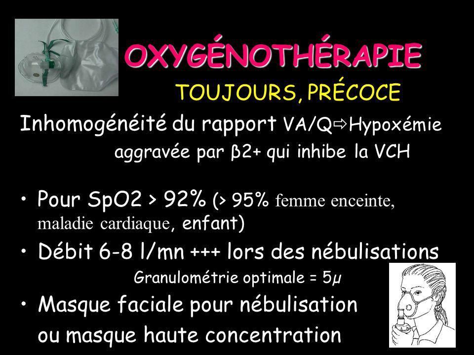 OXYGÉNOTHÉRAPIE TOUJOURS, PRÉCOCE TOUJOURS, PRÉCOCE Inhomogénéité du rapport VA/Q Hypoxémie aggravée par β2+ qui inhibe la VCH Pour SpO2 > 92% (> 95%