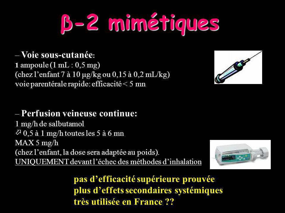 240 TIME (minutes) 2.500 6090120180 300 360300 2.300 2.100 1.900 1.700 1.500 1.30 0 1.100 0.900 0.700 0.500 0.300 FEV 1 Raimondi, Chest 1997 MDI Nebulizer 2 Agonistes - Autres modalités dadministration AD + Chambre dinhalation Dry powder Spray doseur/aérosol – Spray doseur/aérosol 2 à 4 bouffées toutes les 5 à 10 mn plus rapide /aussi efficace que la nébulisation (.
