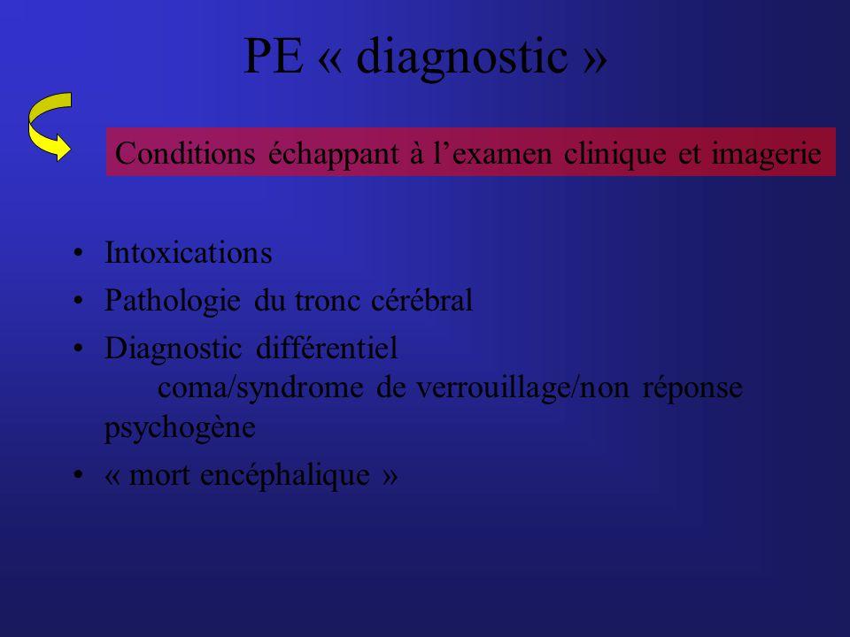 PE « diagnostic » Intoxications Pathologie du tronc cérébral Diagnostic différentiel coma/syndrome de verrouillage/non réponse psychogène « mort encép