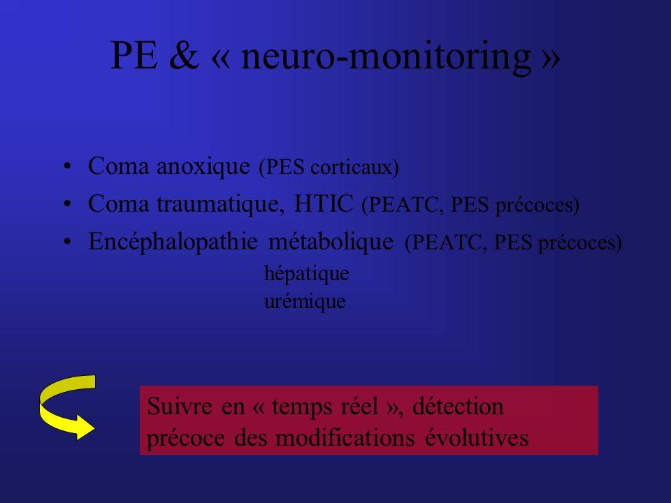 Coma anoxique (PES corticaux) Coma traumatique, HTIC (PEATC, PES précoces) Encéphalopathie métabolique (PEATC, PES précoces) hépatique urémique PE & «