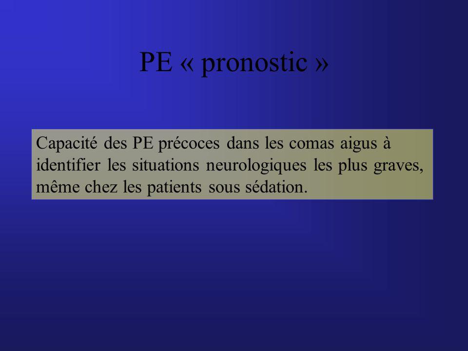 PE « pronostic » Capacité des PE précoces dans les comas aigus à identifier les situations neurologiques les plus graves, même chez les patients sous