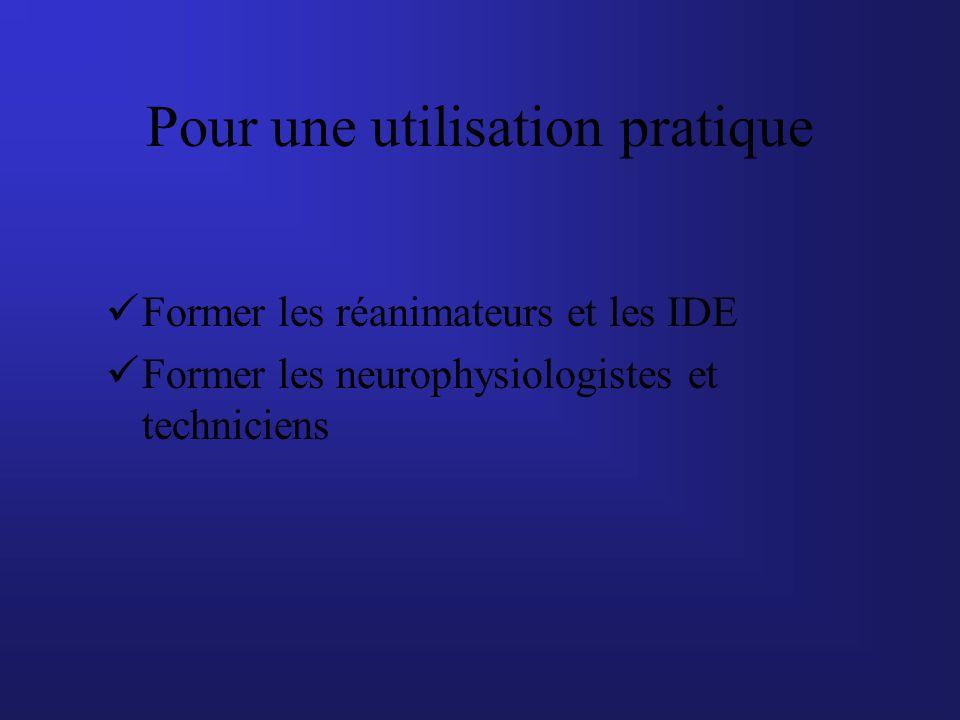 Pour une utilisation pratique Former les réanimateurs et les IDE Former les neurophysiologistes et techniciens