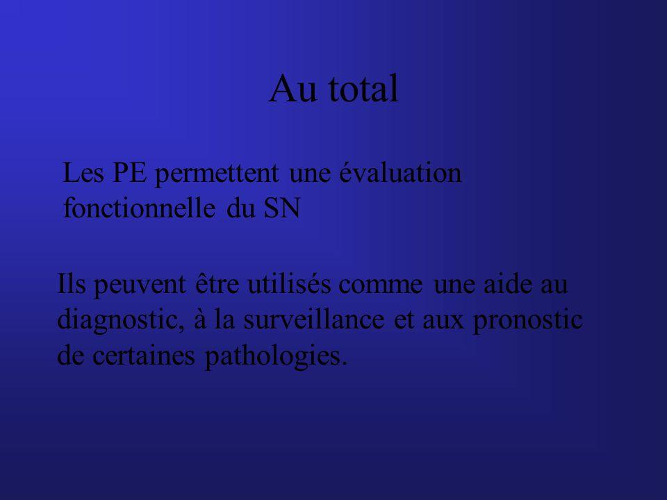 Au total Les PE permettent une évaluation fonctionnelle du SN Ils peuvent être utilisés comme une aide au diagnostic, à la surveillance et aux pronost