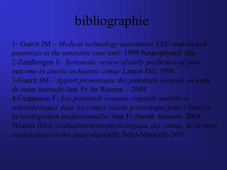 bibliographie 1- Guérit JM – Medical technology assessment EEG and evoked potentials in the untensive care unit- 1999 Neurophysiol clin 2-Zandbergen E