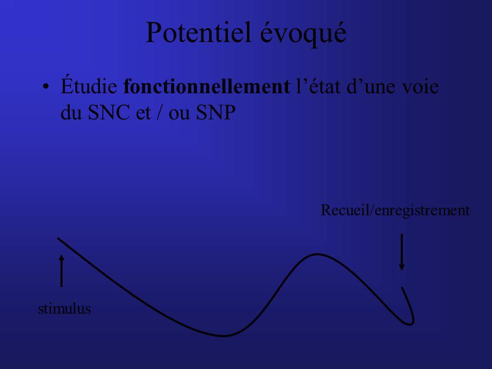 Potentiel évoqué Étudie fonctionnellement létat dune voie du SNC et / ou SNP stimulus Recueil/enregistrement