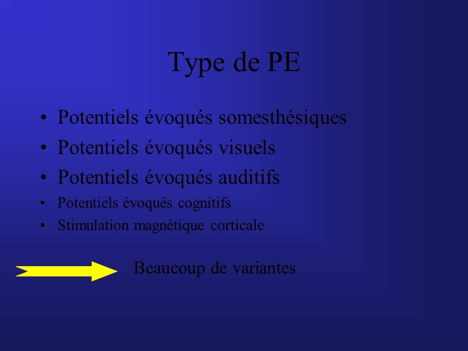 Type de PE Potentiels évoqués somesthésiques Potentiels évoqués visuels Potentiels évoqués auditifs Potentiels évoqués cognitifs Stimulation magnétiqu