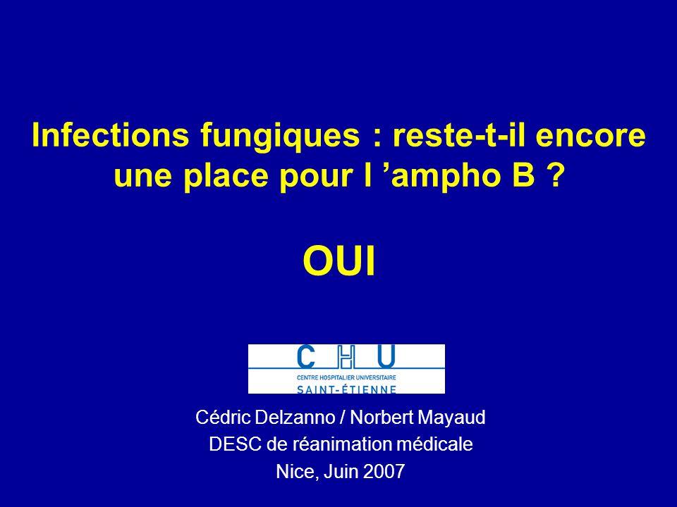 Neutropénies fébriles : –837 patients, étude non infériorité –voriconazole vs LamB –PAS DE DIFFERENCE D EFFICACITE : 26 vs 30,6% Candidémies chez des non neutropéniques : –422 patients (vorico ou amB suivi de fluconazole) –EFFICACITE IDENTIQUE –toxicité rénale : 21% amB vs 8% vorico Kullberg, The Lancet 2005 Walsh, NEJM 2002