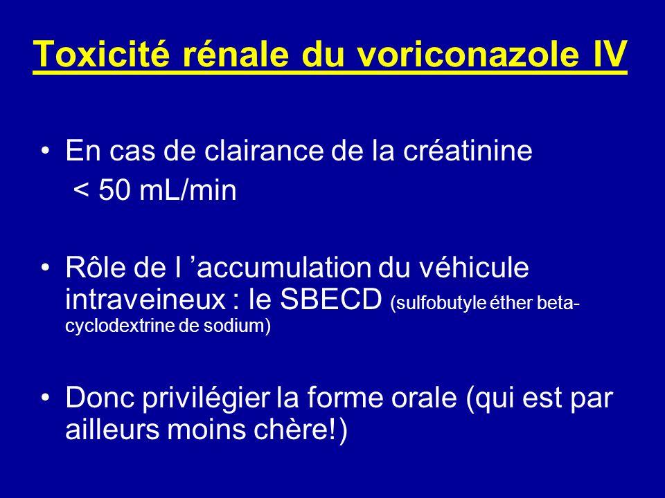 Toxicité rénale du voriconazole IV En cas de clairance de la créatinine < 50 mL/min Rôle de l accumulation du véhicule intraveineux : le SBECD (sulfobutyle éther beta- cyclodextrine de sodium) Donc privilégier la forme orale (qui est par ailleurs moins chère!)