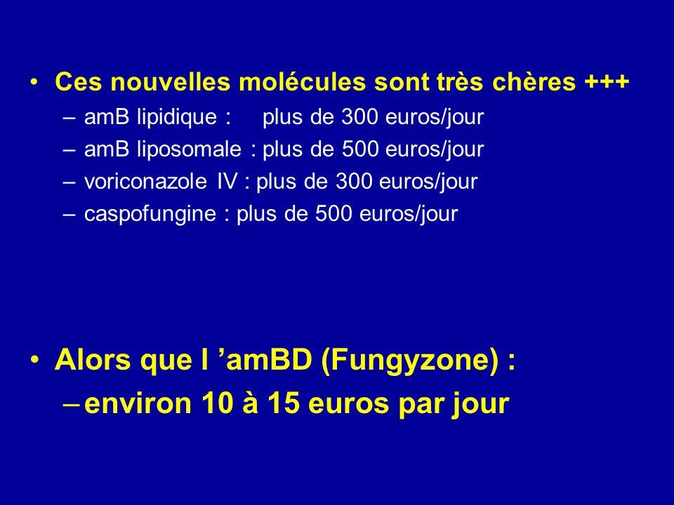 Ces nouvelles molécules sont très chères +++ –amB lipidique : plus de 300 euros/jour –amB liposomale : plus de 500 euros/jour –voriconazole IV : plus de 300 euros/jour –caspofungine : plus de 500 euros/jour Alors que l amBD (Fungyzone) : –environ 10 à 15 euros par jour