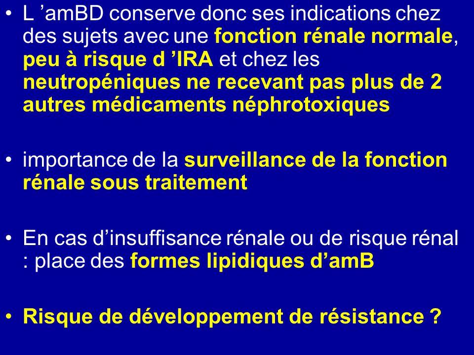 L amBD conserve donc ses indications chez des sujets avec une fonction rénale normale, peu à risque d IRA et chez les neutropéniques ne recevant pas plus de 2 autres médicaments néphrotoxiques importance de la surveillance de la fonction rénale sous traitement En cas dinsuffisance rénale ou de risque rénal : place des formes lipidiques damB Risque de développement de résistance