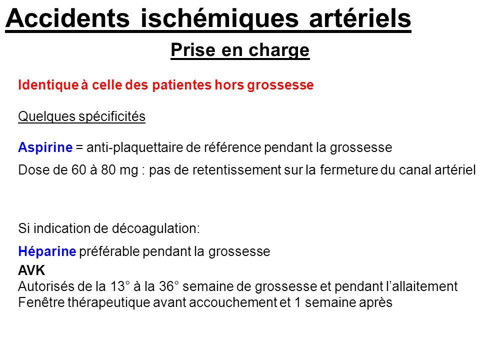 Prise en charge Accidents ischémiques artériels Identique à celle des patientes hors grossesse Quelques spécificités Aspirine = anti-plaquettaire de r