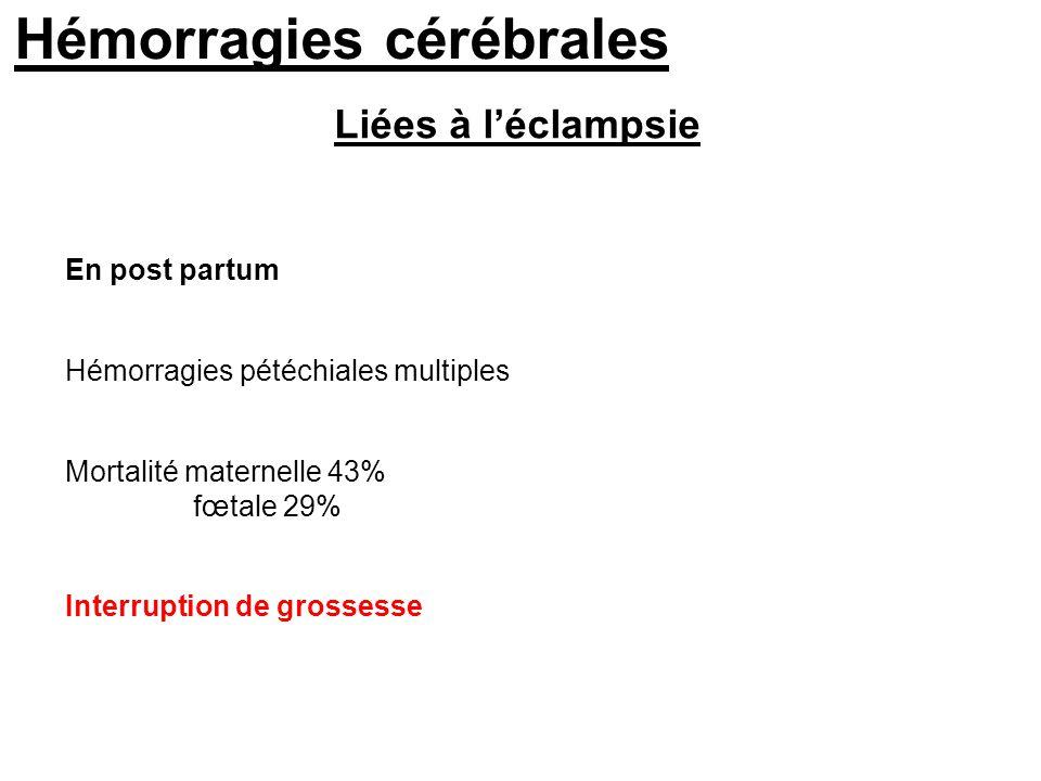 Liées à léclampsie Hémorragies pétéchiales multiples Mortalité maternelle 43% fœtale 29% En post partum Interruption de grossesse