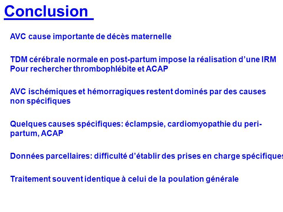 Conclusion AVC cause importante de décès maternelle TDM cérébrale normale en post-partum impose la réalisation dune IRM Pour rechercher thrombophlébit