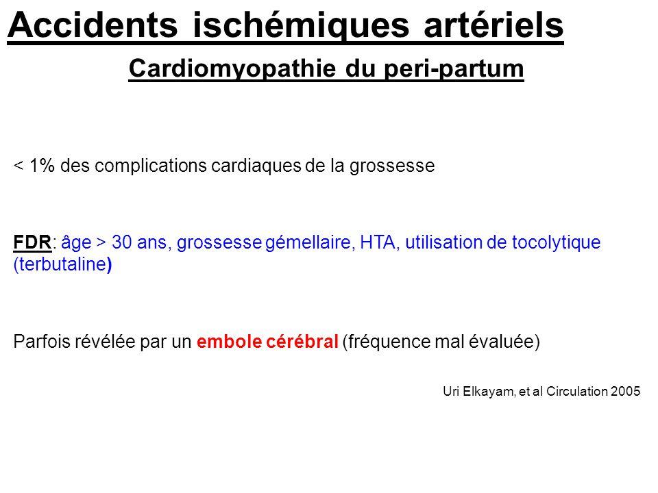 Accidents ischémiques artériels < 1% des complications cardiaques de la grossesse FDR: âge > 30 ans, grossesse gémellaire, HTA, utilisation de tocolyt