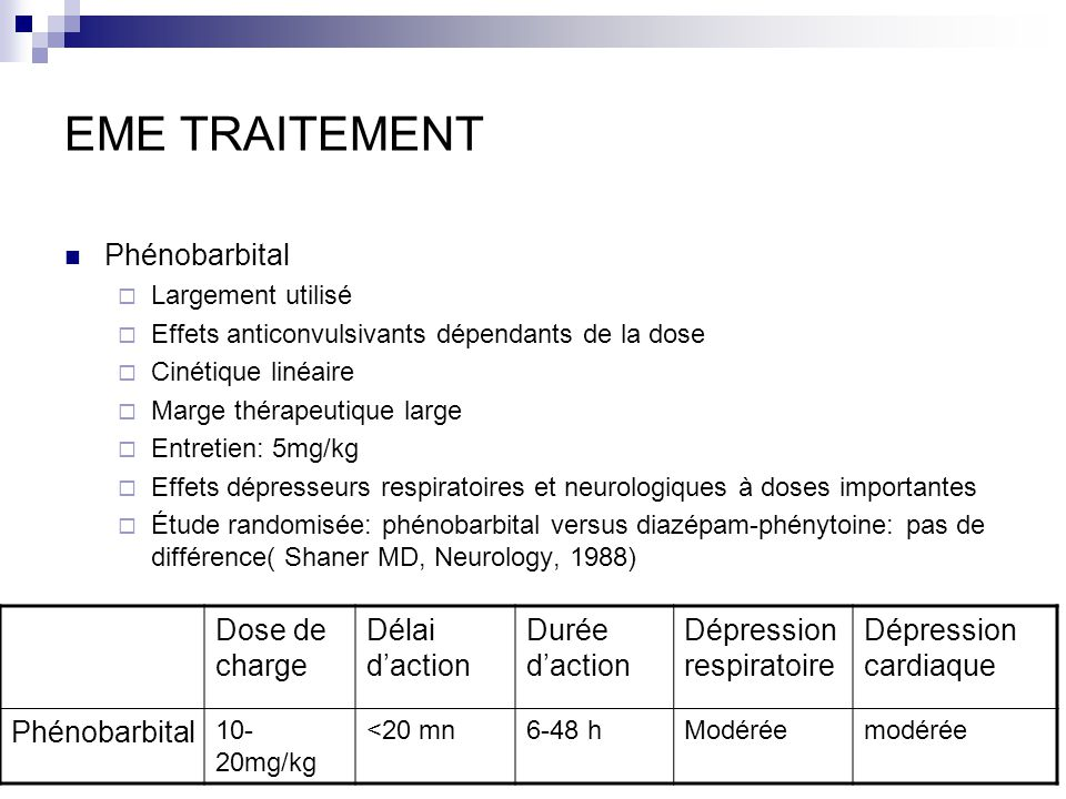 EME TRAITEMENT Phénobarbital Largement utilisé Effets anticonvulsivants dépendants de la dose Cinétique linéaire Marge thérapeutique large Entretien: 5mg/kg Effets dépresseurs respiratoires et neurologiques à doses importantes Étude randomisée: phénobarbital versus diazépam-phénytoine: pas de différence( Shaner MD, Neurology, 1988) Dose de charge Délai daction Durée daction Dépression respiratoire Dépression cardiaque Phénobarbital 10- 20mg/kg <20 mn6-48 hModéréemodérée