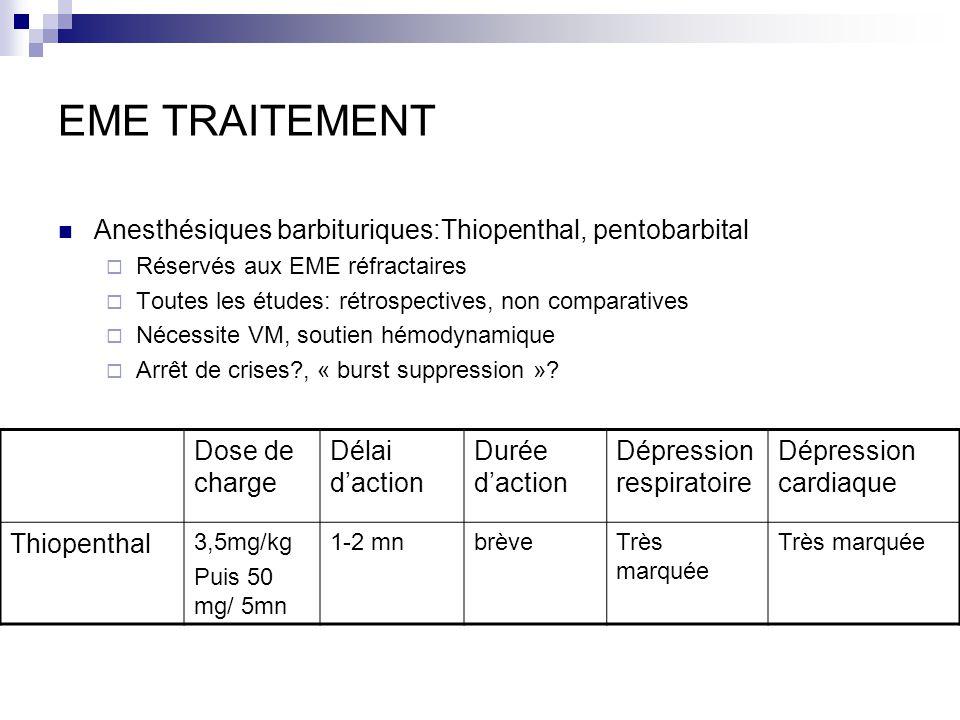 EME TRAITEMENT Anesthésiques barbituriques:Thiopenthal, pentobarbital Réservés aux EME réfractaires Toutes les études: rétrospectives, non comparative
