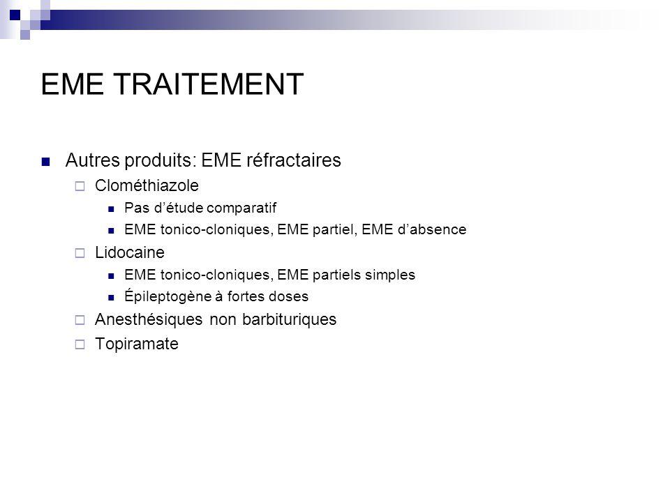 EME TRAITEMENT Autres produits: EME réfractaires Clométhiazole Pas détude comparatif EME tonico-cloniques, EME partiel, EME dabsence Lidocaine EME tonico-cloniques, EME partiels simples Épileptogène à fortes doses Anesthésiques non barbituriques Topiramate