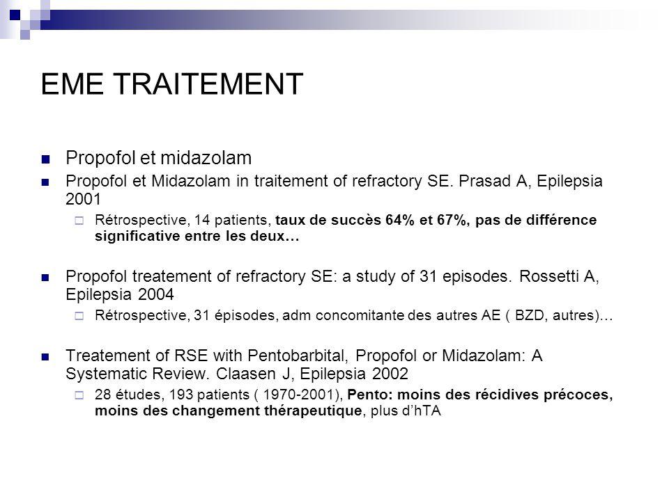 EME TRAITEMENT Propofol et midazolam Propofol et Midazolam in traitement of refractory SE. Prasad A, Epilepsia 2001 Rétrospective, 14 patients, taux d