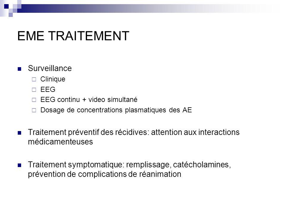 EME TRAITEMENT Surveillance Clinique EEG EEG continu + video simultané Dosage de concentrations plasmatiques des AE Traitement préventif des récidives: attention aux interactions médicamenteuses Traitement symptomatique: remplissage, catécholamines, prévention de complications de réanimation