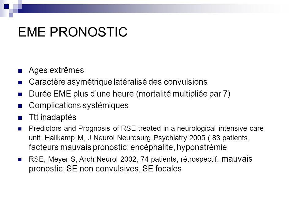 EME PRONOSTIC Ages extrêmes Caractère asymétrique latéralisé des convulsions Durée EME plus dune heure (mortalité multipliée par 7) Complications syst