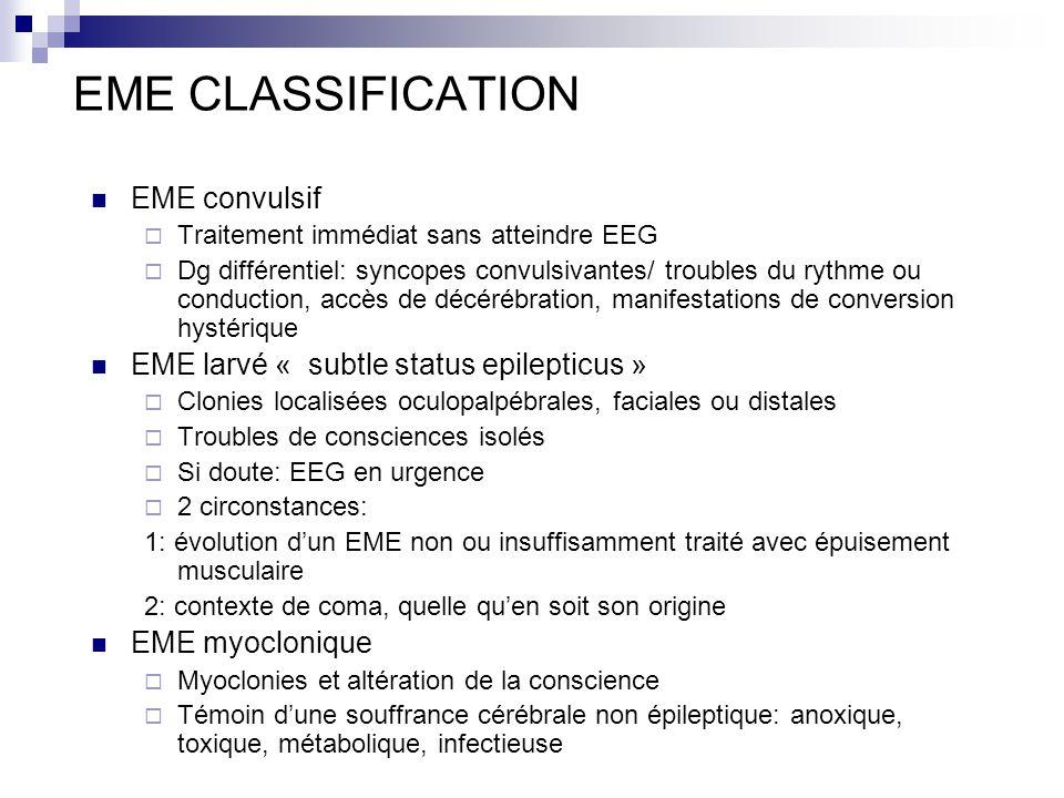 EME CLASSIFICATION EME convulsif Traitement immédiat sans atteindre EEG Dg différentiel: syncopes convulsivantes/ troubles du rythme ou conduction, ac