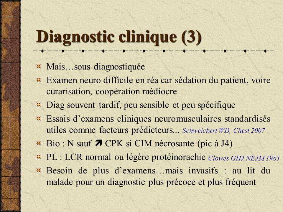 Diagnostic clinique (3) Mais…sous diagnostiquée Examen neuro difficile en réa car sédation du patient, voire curarisation, coopération médiocre Diag s