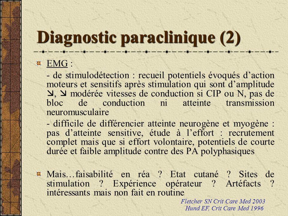 Diagnostic paraclinique (2) EMG : - de stimulodétection : recueil potentiels évoqués daction moteurs et sensitifs après stimulation qui sont damplitud