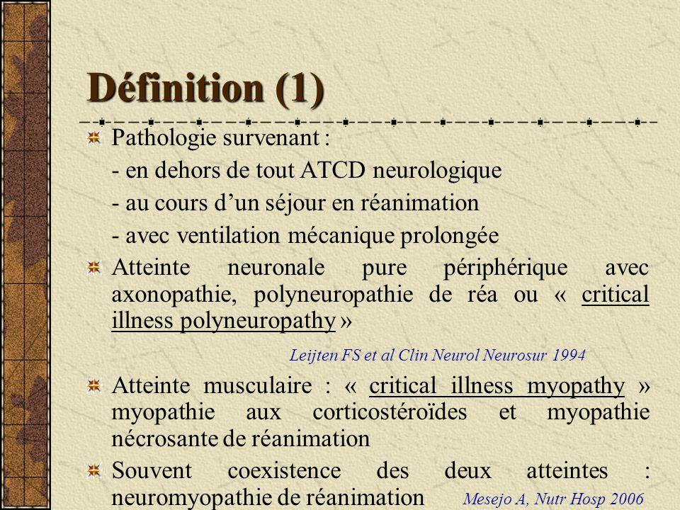 Diagnostic clinique (2) Signes neurologiques : même présentation clinique - déficit moteur : faiblesse généralisée, impotence fonctionnelle, quadriplégie flasque, symétrique, surtout distale et membres inférieurs, plus significatif aux MS, de sévérité variable, hypotonie - amyotrophie variable, souvent présente - ROT diminués voire absents - atteinte sensitive inconstante, que si CIP - paires crâniennes normales, rare atteinte faciale Visser LH, Eur J Neurol 2006 Latronico N, Curr Opin Crit Care 2005 Hund EF, Crit Care Med 1996 De Jonghe et coll, JAMA 2002