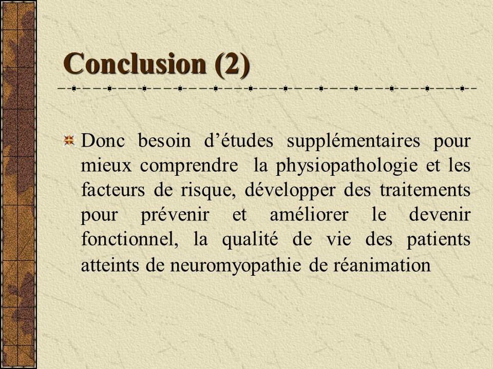 Conclusion (2) Donc besoin détudes supplémentaires pour mieux comprendre la physiopathologie et les facteurs de risque, développer des traitements pou