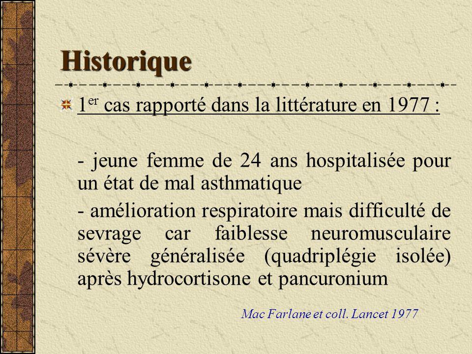 Historique 1 er cas rapporté dans la littérature en 1977 : - jeune femme de 24 ans hospitalisée pour un état de mal asthmatique - amélioration respira