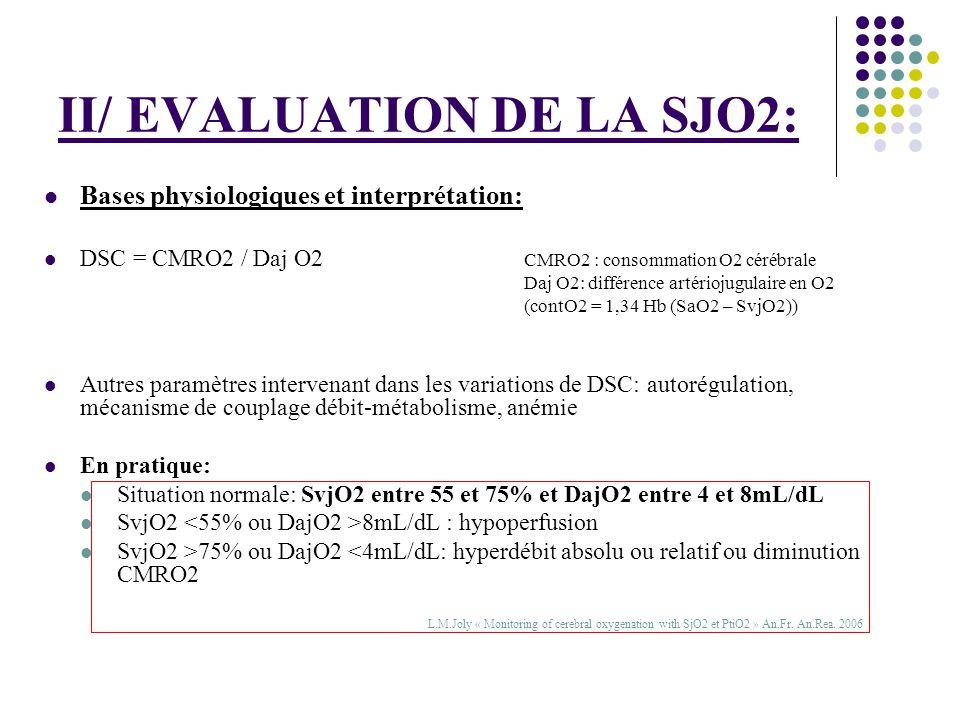 II/ EVALUATION DE LA SJO2: Bases physiologiques et interprétation: DSC = CMRO2 / Daj O2 CMRO2 : consommation O2 cérébrale Daj O2: différence artérioju
