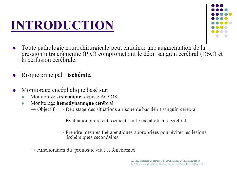 Valeur pronostic S.P.Gopinath J.Neurol.Neurosurg.Psy.1994 116 TC graves 46 patients ayant présenté des désaturations jugulaires % dévolution défavorable 55% si 1 épisode 74% si 2 épisodes 90% si plus de 2 épisodes Carmino J.N.N.Psy 1999 Valeurs SvjO2 > 75% : mauvais pronostic Destruction définitve du parenchyme cérébral Consommation dO2 réduite