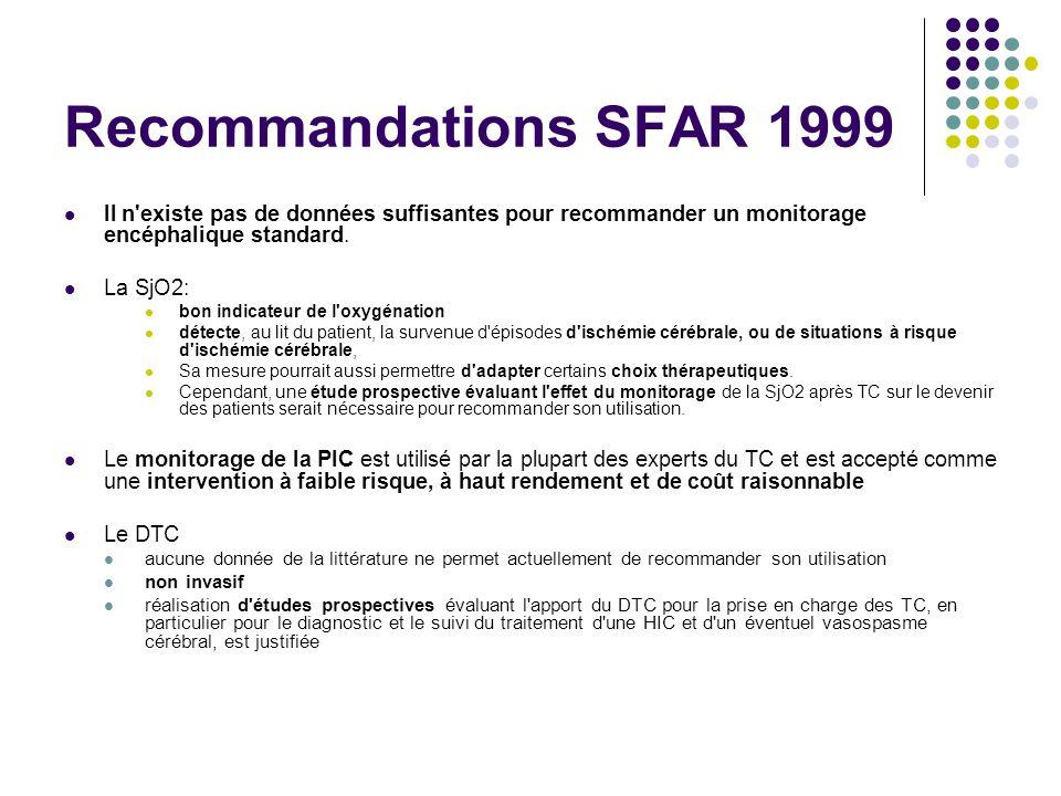 Recommandations SFAR 1999 Il n'existe pas de données suffisantes pour recommander un monitorage encéphalique standard. La SjO2: bon indicateur de l'ox