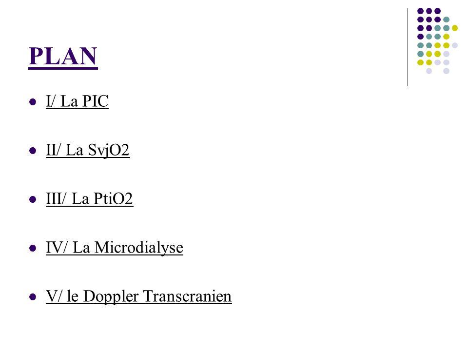 PLAN I/ La PIC II/ La SvjO2 III/ La PtiO2 IV/ La Microdialyse V/ le Doppler Transcranien