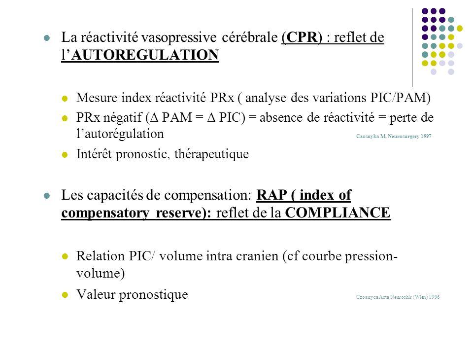 V/ DOPPLER TRANSCRANIEN: Principes techniques: Non invasif Mesure de la vitesse circulatoire : ACM++ vitesse >120cm/s: DSC ou vasospasme Index de Lindegaard VCM/ VCI > 3: vasospasme (Se85%, Spe 98%) Index de résistivité et pulsatilité Indications Diagnostic du VASOSPASME TC grave: dépistage des syndromes dhyperdébit Evaluation de la PIC (IR et IP) Tests dynamiques d autorégulation et de réactivité cérébro-vasculaire aux modifications de PaCO2, PAM,..