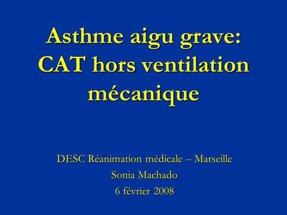 Asthme aigu grave: CAT hors ventilation mécanique DESC Réanimation médicale – Marseille Sonia Machado 6 février 2008